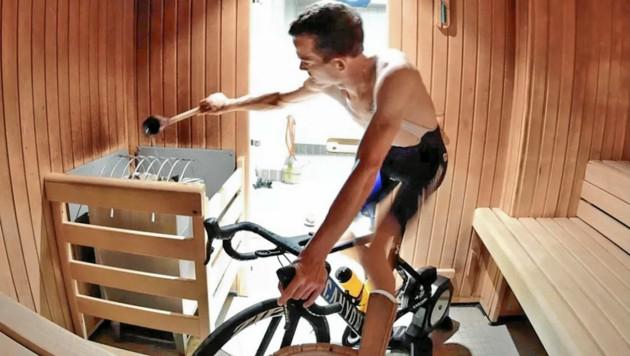 Aufguss - Radfahrer Gregor Mühlberger trainierte in der Sauna. (Bild: Krone)