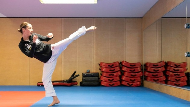 Bettina Plank hat sich zuletzt im Olympiazentrum in Dornbirn auf Olympia vorbereitet. (Bild: Maurice Shourot)