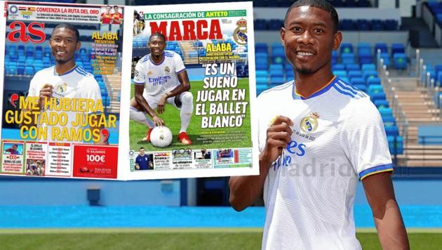 David alaba lachte nach der Präsentation bei Real Madrid von den Titelseiten der wichtigsten spanischen Sport-Zeitungen. (Bild: Real Madrid, zVg)