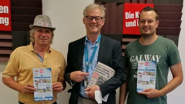 """Richard Urank, Werner Pietsch und Patrick Jochum (v. l.) im """"Krone""""-Podcaststudio in Klagenfurt. (Bild: JOMO KG)"""