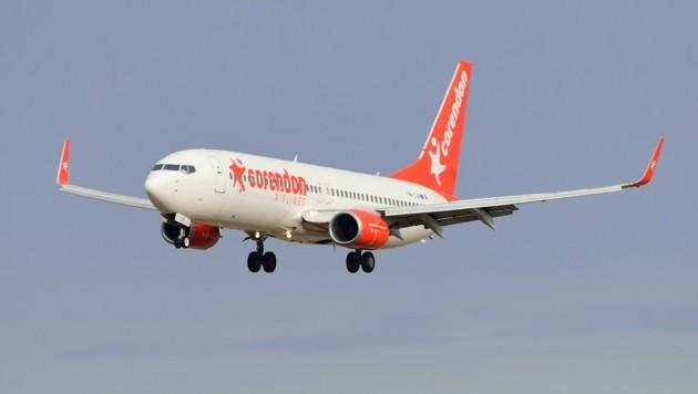 Eine Boeing 737-800 der türkischen Billigfluglinie Corendon Airlines strandete am Bodensee-Airport. (Bild: Patrick Huber)