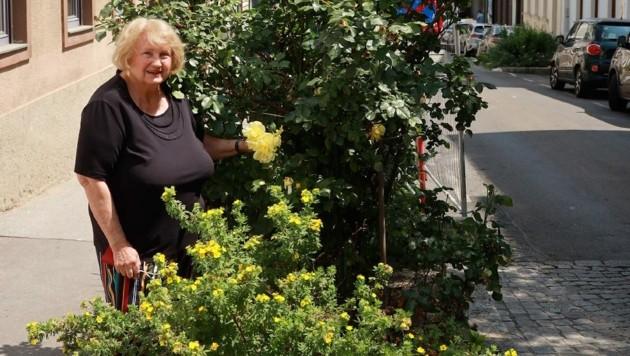 Eva Schöberle schaut seit 20 Jahren auf die schönen Blumen. (Bild: Zwefo)