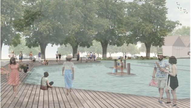 Auf dem gesamten Areal sollen großteils Holzstege um das Gewässer montiert, außerdem zwei fixe Inseln und ein Seilzieh-Floß errichtet werden. (Bild: YEWO LANDSCAPES GmbH)