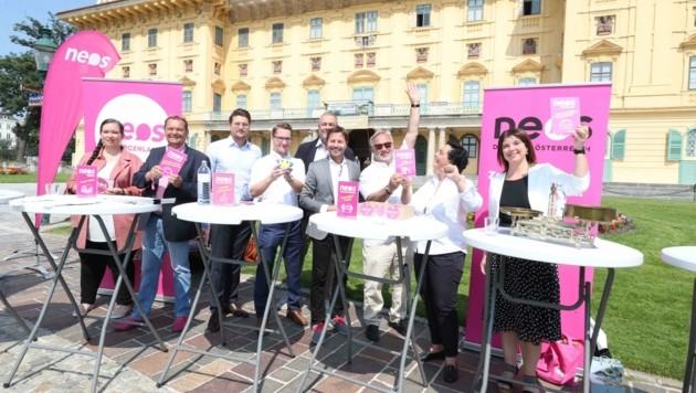 Aus allen Bundesländern kamen Neos-Vertreter vor dem Schloss Esterházy zusammen (Bild: Judt Reinhard)