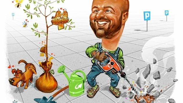 Umtriebiger Baum- und Pflanzenfreund: Severin Mayr (Die Grünen) (Bild: Milan A. Ilic)