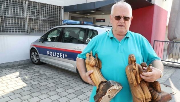 Holzgeschnitzte Reliefbilder und Heiligenstatuen wurden zerstört, (Bild: Judt Reinhard)