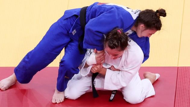 Michaela Polleres beim Sieg gegen die Weltmeisterin Barbara Matic. (Bild: GEPA)