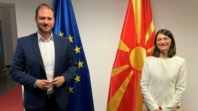 Sagartz und Botschafterin Agneza Rusi Popovska besprachen den Weg Nordmazedoniens in die Europäische Union. (Bild: ÖVP)