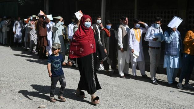 Viele Menschen in Afghanistan wollen das von Konflikten gebeutelte Land verlassen. Vor diesem Passamt in Kabul bilden sich täglich lange Warteschlangen. (Bild: APA/AFP/SAJJAD HUSSAIN)