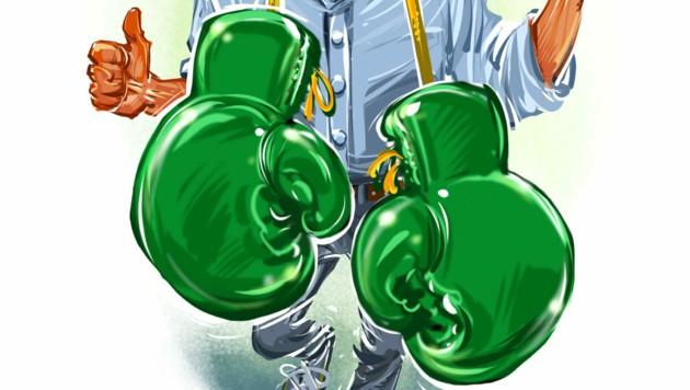 ...mit grünen Boxhandschuhen im Kampf für den Klimaschutz (Bild: Milan A. Ilic)