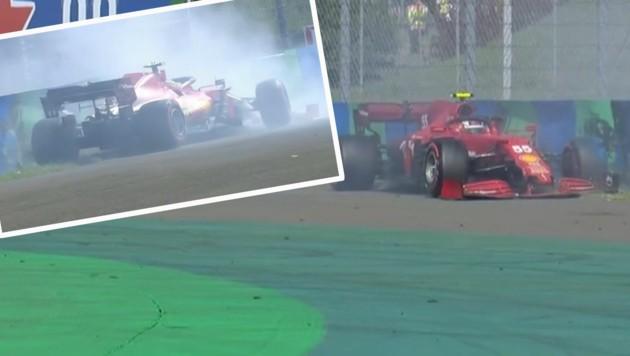 Ferrari-Pilot Carlos Sainz crashte beim Qualifying in Budapest. (Bild: Screenshot Servus TV)