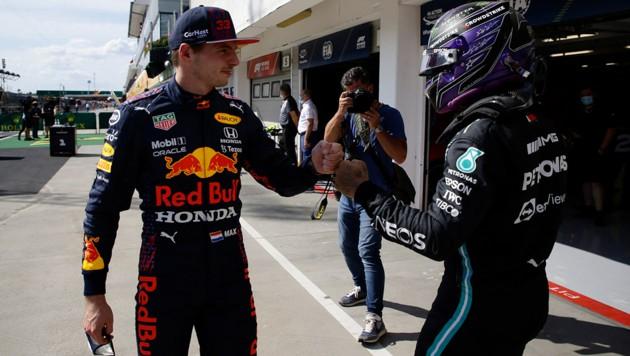 Max Verstappen (li.) und Lewis Hamilton (Bild: AFPAPA/AFP/POOL/DAVID W CERNY)