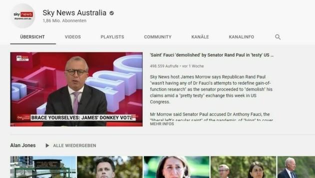 Das neueste Video des TV-Senders auf YouTube ist bereits mehrere Tage alt. (Bild: YouTube/SkyNewsAustralia)