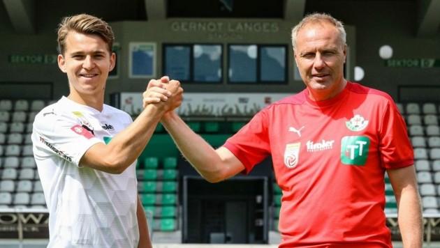 Mittelfeldspieler Valentino Müller (l.) hofft auf viele Spielminuten bei Wattens-Trainer Thomas Silberberger. (Bild: WSG Tirol)