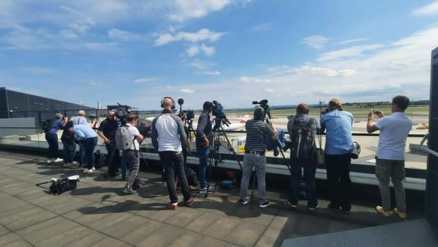 Timanowskajas Ankfunt in Wien geriet zum Medienspektakel. (Bild: Patrick Huber)
