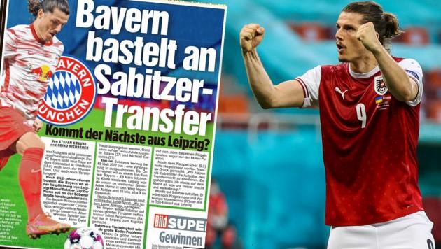 """Die für gewöhnlich gut informierte """"Bild"""" hält einen Wechsel von Sabitzer zu Bayern nicht für unmöglich. (Bild: APA/AFP/POOL/MARKO DJURICA, """"Bild""""-Zeitung)"""