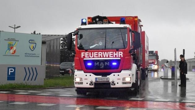 Abfahrt des Hilfskonvois Donnerstagnachmittag in Tulln. (Bild: P. Huber)