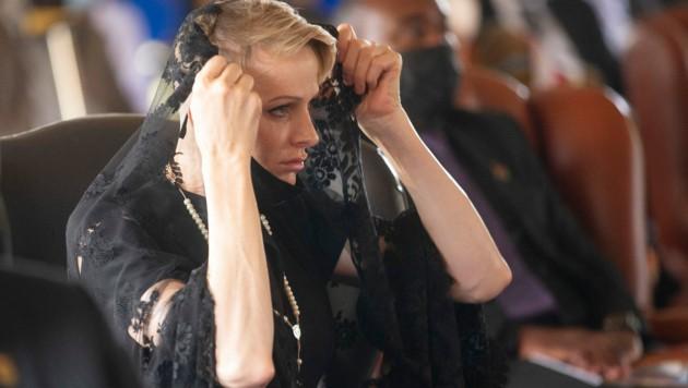 Fürstin Charlene bei der Trauerfeier des Zulu-Königs Goodwill Zwelithini im März (Bild: AFP)