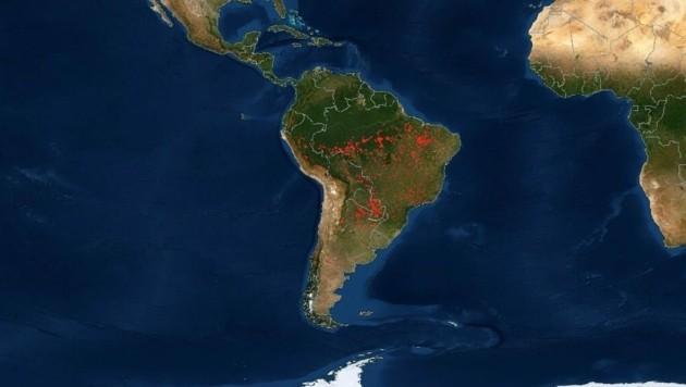 Auch Südamerika hatte zuletzt mit Waldbränden zu kämpfen. (Bild: NASA)