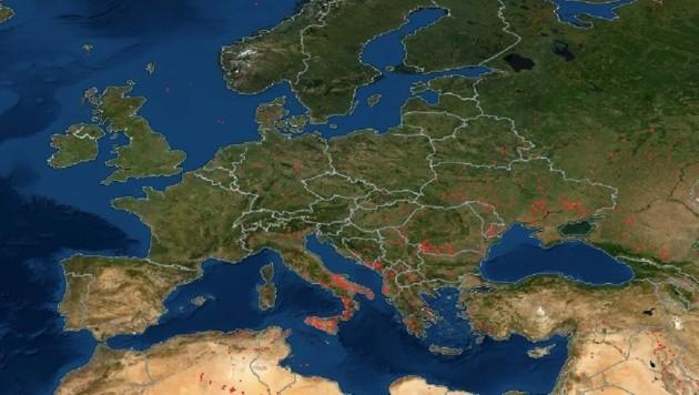 In Europa sind vor allem der Süditalien, Teile Griechenlands und die Türkei stark betroffen. (Bild: NASA)
