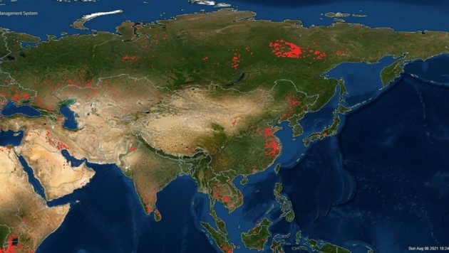 Russland erlebt die schlimmsten Waldbrände in der Geschichte seiner Wetterbeobachtung. (Bild: NASA)
