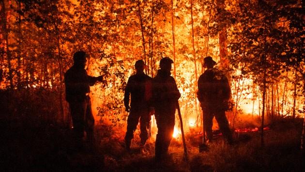 Feuerwehrleute stehen im Westen von Jakutsk einem scheinbar übermächtigen Gegener gegenüber. (Bild: Associated Press)
