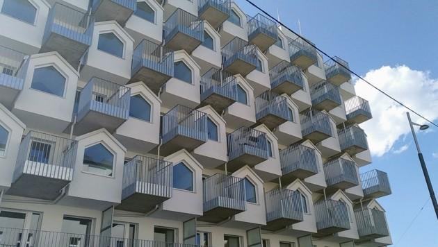 Gudrunstraße in Favoriten: Dieser Neubau steht laut Grünen nahezu leer (Bild: Grüne Wien)