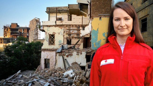 Die Wienerin Simona Mencinger (32) packt im Auftrag des Roten Kreuzes in Beirut mit an - die Stadt liegt nach wie vor in Trümmern. (Bild: AP, Österreichisches Rotes Kreuz, Krone KREATIV)