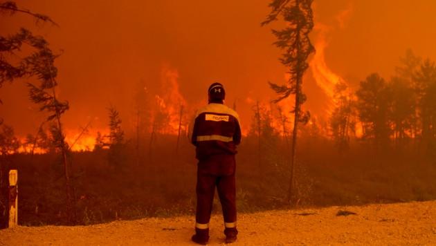 Der Kampf gegen die Flammen scheint aussichtslos. (Bild: AP/Ivan Nikiforov)