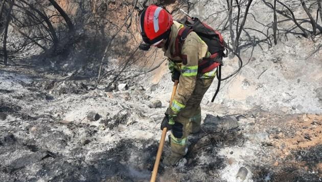 Floriani-Jünger kämpfen jetzt gegen kleinere Brandherde (Bild: LFV Tirol)