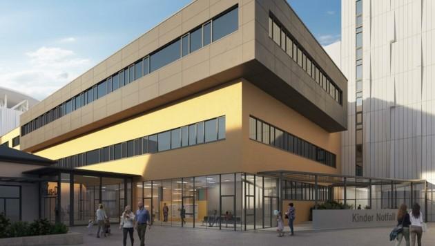 Ende 2024 soll das Haus D des St. Pöltner Spitals so aussehen wie in dem Rendering. (Bild: Pfaffenbichler Architektur)