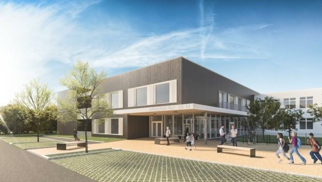 So soll die neue Volksschule 44 in der Rathfeldstraße aussehen. (Bild: ILG Linz)