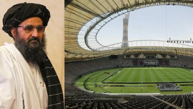Da die Taliban dem Fußball-Sport gegenüber nicht sonderlich aufgeschlossen sind, dürfte Mullah Abdul Ghani Baradar (li.) wohl auch keines der WM-Spiele im katarischen Khalifa International Stadium ansehen. (Bild: APA/AFP/KARIM JAAFAR; AFP)