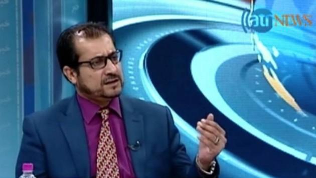 Einst als Minister im Fernsehen, jetzt Pizzabote: Sayed Sadaat (Bild: Screenshot: atr news)