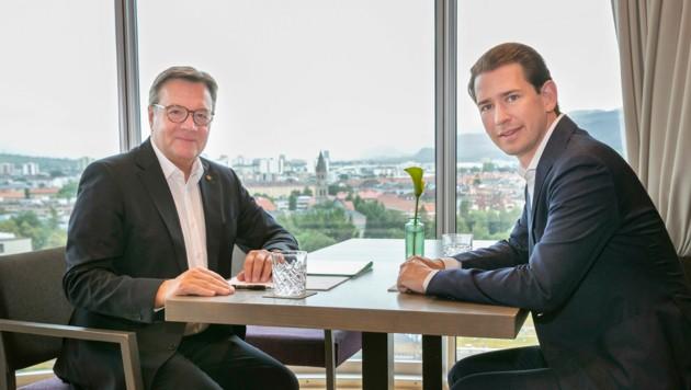 LH Günther Platter beim Arbeitsgespräch mit Bundeskanzler Sebastian Kurz (Bild: Land Tirol/Die Fotografen)