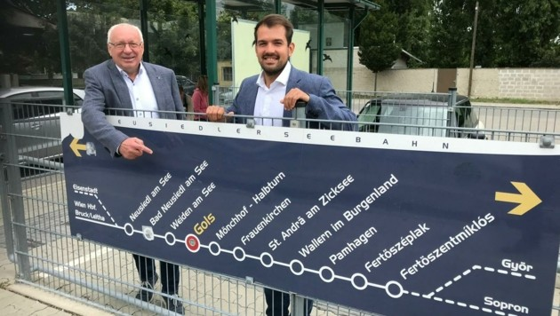 Bürgermeister Hans Schrammel und Vize-Bürgermeister Kilian Brandstätter freuen sich über den Ausbau des Bahnhofes. (Bild: Gemeinde Gols)