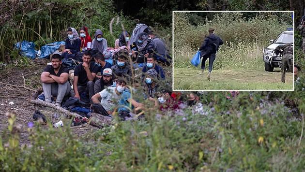 Die Migranten sitzen seit fast zwei Wochen in der Nähe des Dorfs Usnarz Gorny an der polnisch-belarussischen Grenze fest. Der polnische Parlamentsabgeordnete Franek Sterczewski wollte ihnen Medikamente und Lebensmittel bringen (kl. Bild), doch die Grenzposten stoppten ihn. (Bild: AFP)