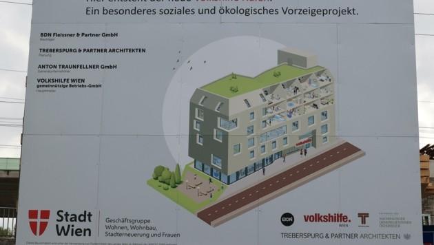 Dieser Tafel an der Baustelle zeigt, wie das fertige Projekt aussehen wird (Bild: Tomschi Peter)