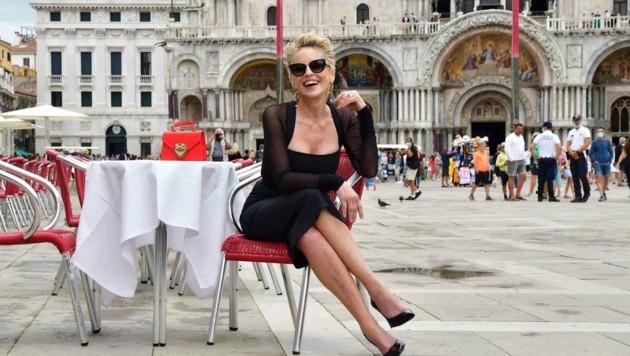 """Sharon Stone machte ihrem Ruf als """"Basic Instinct""""-Ikone beim Shooting in Venedig alle Ehre. (Bild: www.photopress.at)"""