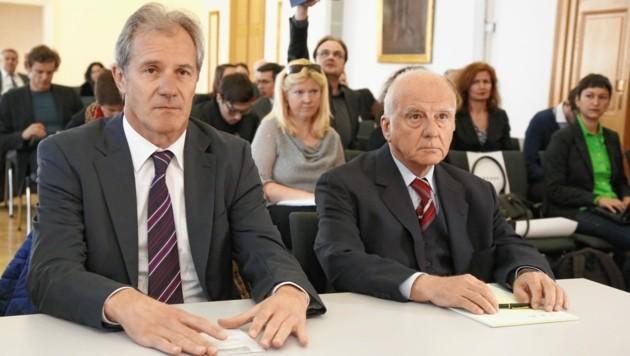 2014 wurde das Urteil gegen Josef Martinz und Dietrich Birnbacher sowie zwei Ex-Manager vor dem OGH rechtskräftig. Binnen sieben Jahren gelang es dem Land Kärnten nicht, die veruntreuten Millionen von den Herren zurückzuholen. Warum, ist unklar - auch dem Rechnungshof. (Bild: Krone)