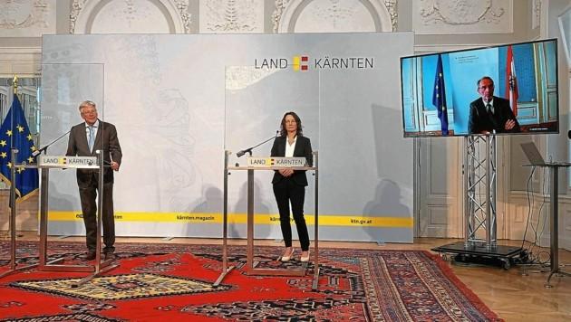 LH Kaiser und Bildungsdirektorin Penz live dabei, Minister Faßmann über Videoschaltung. (Bild: Kimeswenger Fritz)