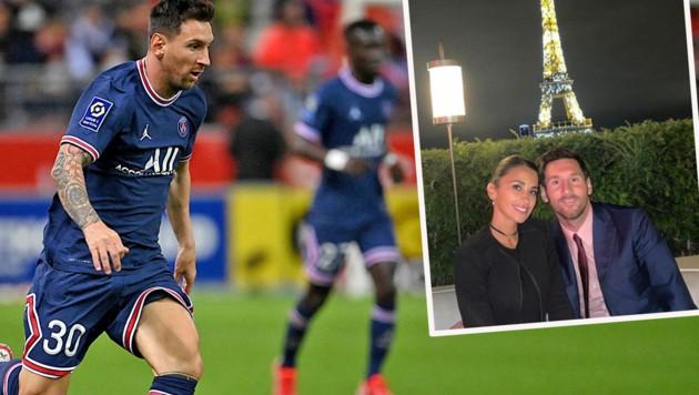 Lionel Messi in PSG-Montur (li.) und verliebt mit seiner Antonella vorm Eiffelturm. (Bild: APA/AFP/FRANCK FIFE, Instagram.com/leomessi)