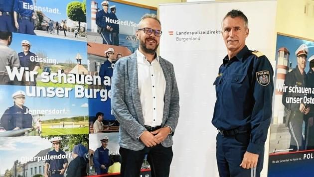 Bürgermeister Jud-Mund beim Gespräch mit Landespolizeidirektor Huber. (Bild: Gemeinde Neuhaus)