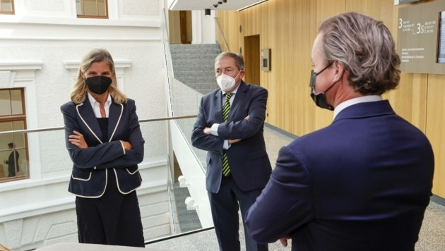 Auf einer Seite Anwältin Knötzl und Schaden, auf der anderen Anwalt Vavrosky für die Stadt (Bild: Tschepp Markus)