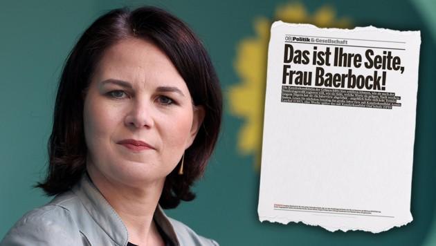 """Die """"Bild am Sonntag"""" hat eine weitgehend leere Seite veröffentlicht, auf der ein Interview mit Grünen-Spitzenkandidatin Annalena Baerbock hätte stehen sollen. (Bild: AFP, Screenshot/Bild Zeitung)"""
