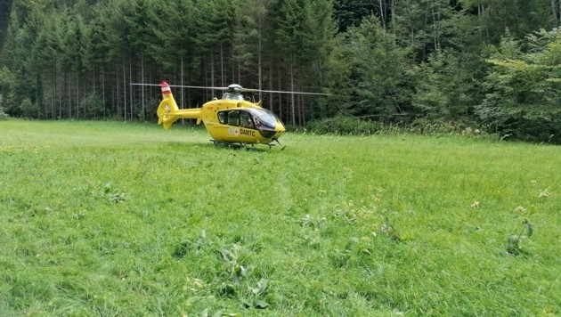 Der C16-Rettungshubschrauber brachte den Mann ins Spital. (Bild: FF Mönichwald)
