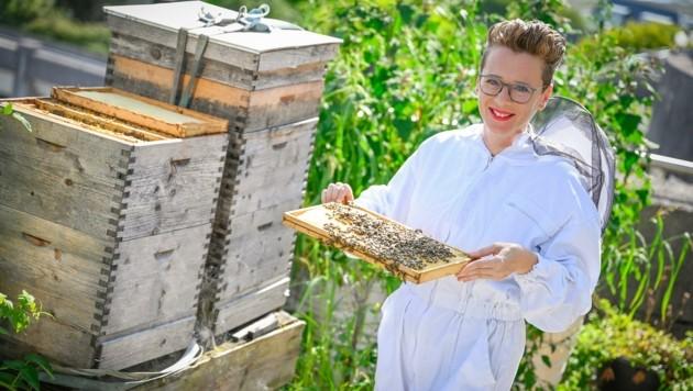 Gar nicht ängstlich inspizierte Eva Schobesberger die Bienenwabe. (Bild: Alexander Schwarzl)