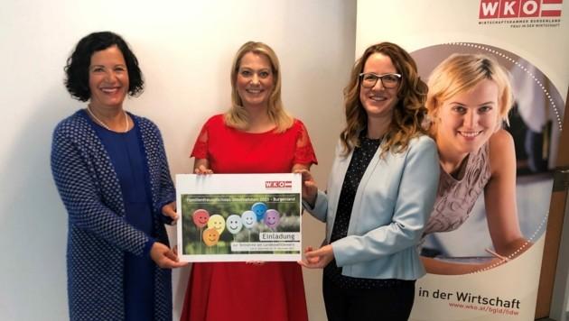 Andrea Gottweis (links), Petra Schumich (rechts) und Landesrätin Daniela Winkler laden zur Teilnahme am Wettbewerb ein. (Bild: Bianca Nastl)