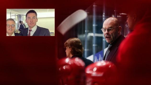 Von rechts: Belarus-Teamchef Craig Woodcroft, Dimitri Baskow, Rene Fasel (IIHF-Präsident). (Bild: GEPA pictures)