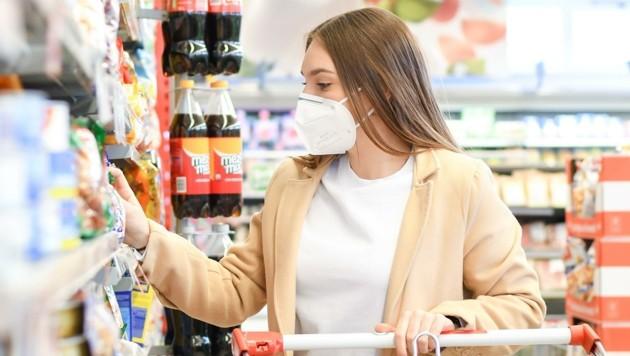 Ab dem 15. September herrscht in Lebensmittelgeschäften wieder FFP2-Maskenpflicht (Bild: Scharinger Daniel)